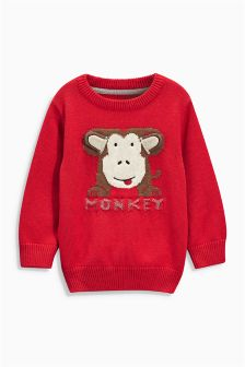 Monkey Crew Neck Jumper (3mths-6yrs)