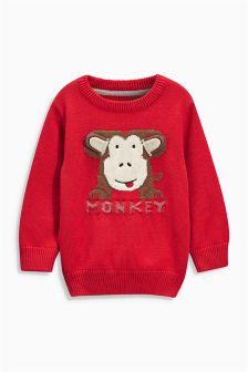 Red Monkey Crew Neck Jumper (3mths-6yrs)