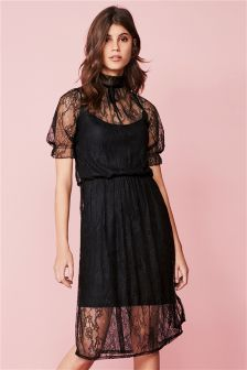 Balloon Sleeve Lace Dress