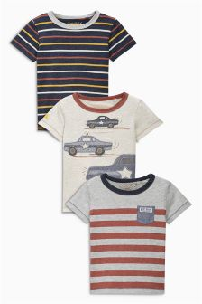 Rust Cars And Stripes T-Shirts Three Pack (3mths-6yrs)
