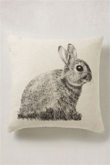 Natural Rabbit Print Cushion