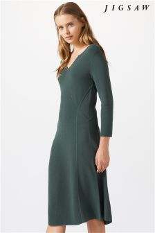 Jigsaw Green Ottoman Clean Knit Dress