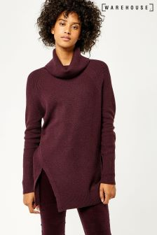 Warehouse Berry Marl Stitchy Cowl Neck Jumper