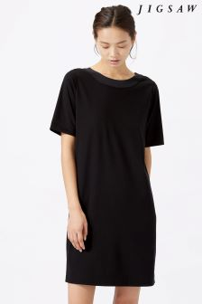 Jigsaw Black Silk Insert Deep V Back Dress