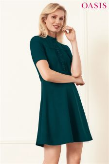 Oasis Teal Lace Detail Skater Dress