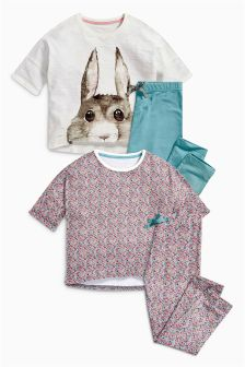 Bunny And Floral Pyjamas Two Pack (3-16yrs)