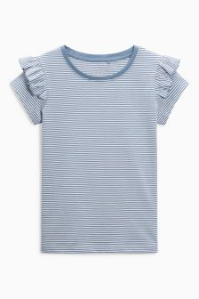Ruffle Shoulder Short Sleeve T-Shirt (3-16yrs)