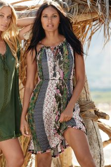 Print Floral Panelled Short Dress