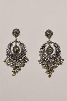 Gun Plate Circle Boho Tassel Earrings