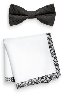 Textured Bow Tie And Pocket Square Set
