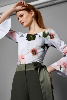 Ted Baker Beleita White Bloom Bardot Top