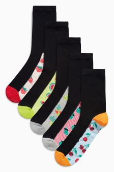 Fruit Print Footbed Ankle Socks Five Pack