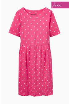 Joules Coral Spot Strech Pleat Jersey Dress