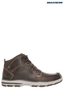 Skechers® Brown Mid Moc Toe Lace-Up