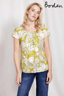 Boden Mimosa Yellow Fresco Floral Ravello Top