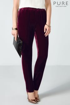 Pure Collection Dark Berry Silk Velvet Trouser