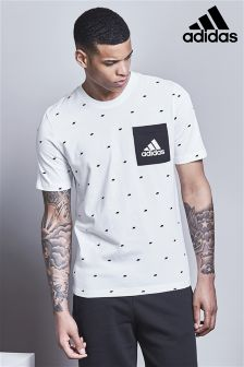 adidas White Box Logo All-Over-Print T-Shirt