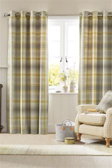 Ochre Cosy Woven Check Eyelet Curtains