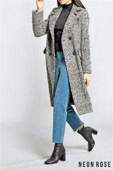 Neon Rose Black Salt Pepper Wide Collar Wool Coat
