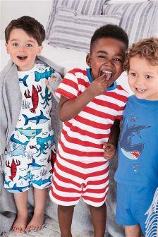Shark And Stripe Short Pyjamas Three Pack (9mths-8yrs)