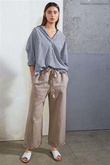 French Connection Beige Patras Cotton Linen Tie Waist Trouser