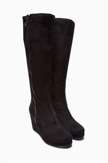 Black Platform Long Boots