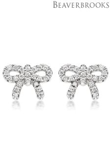 Beaverbrooks Silver Cubic Zirconia Bow Earrings