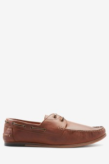 Brown Leather Smart Boat Shoe