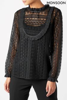 Monsoon Black Lottie Laura Lace Blouse