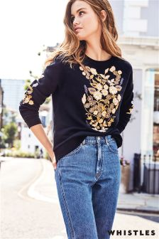 Whistles Black Belize Embroidered Sweatshirt