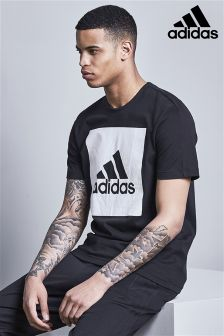 adidas Black Large Box Logo T-Shirt