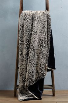 Textured Animal Faux Fur Throw