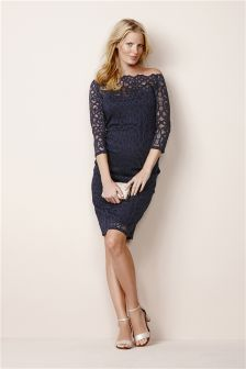 Navy Lace Geo Dress (Maternity)
