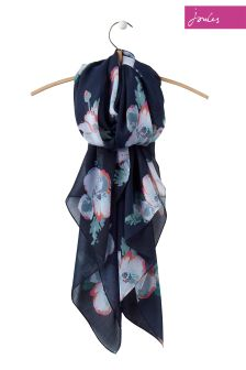 Joules Navy Poppy Woven Wensley Scarf