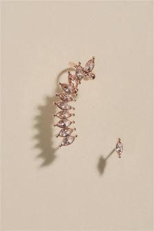 Crystal Effect Ear Crawler And Stud Set