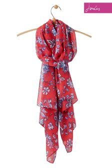 Joules Red Indienne Floral Woven Wensley Scarf