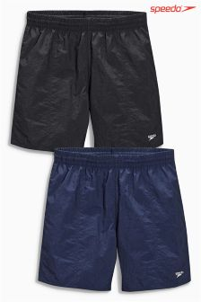 "Speedo® Black/Navy 16"" Water Shorts Two Pack"