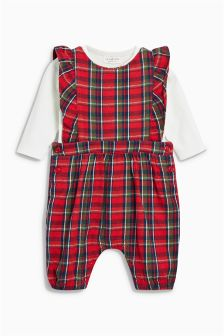 Frill Dungarees And Bodysuit Set (0mths-2yrs)