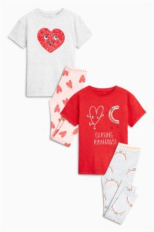 Sequin Heart Legging Pyjamas Two Pack (3-16yrs)