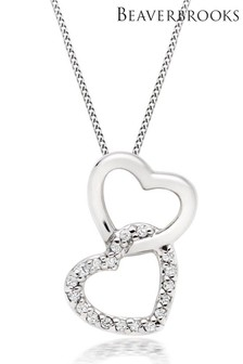 Beaverbrooks 9ct White Gold Diamond Double Heart Pendant