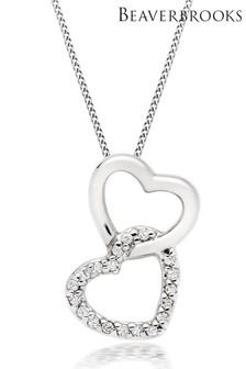 Beaverbrooks 9ct White Gold Diamond Double Heart Pendant