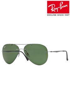 Gun Metal Ray-Ban® Rimless Aviator Sunglasses