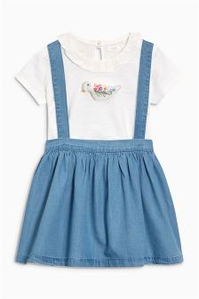 Pinafore And T-Shirt Set With 3D Bird Appliqué (3mths-6yrs)