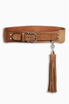 Suede Oversize Tassel Belt