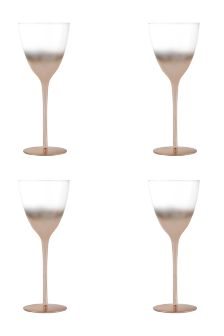 Set Of 4 Copper Effect Wine Glasses