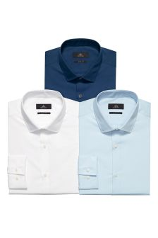Three Pack Blue And White Shirts