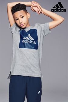adidas Grey Stack Logo Box T-Shirt