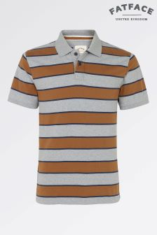 Fat Face Grey Marl Jackson Block Stripe Polo