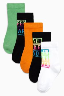 Rainbow Slogan Socks Five Pack (Younger)
