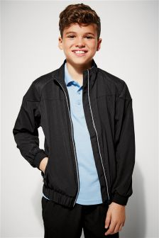 Black Woven Zip Through Jacket (3-16yrs)